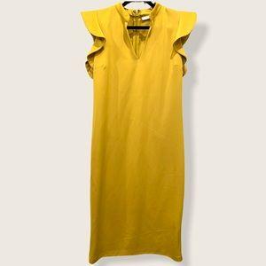 NWT any & Co mustard gold v neck flutter sleeve